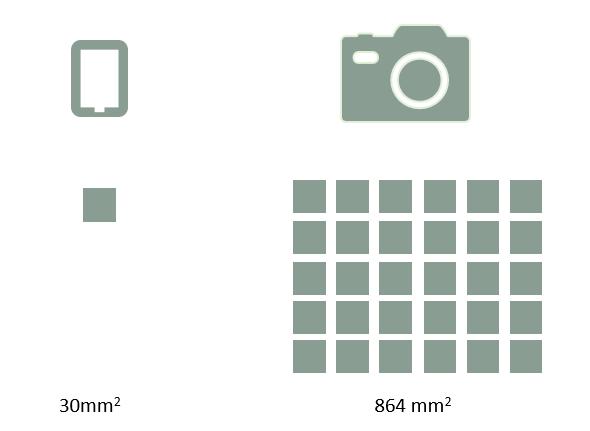 Sprzęt pełnoklatowy w fotografii ślubnej - porównanie matrycy pełnoklatkowej  z sensorem fotograficznym 1-2/3 cala.